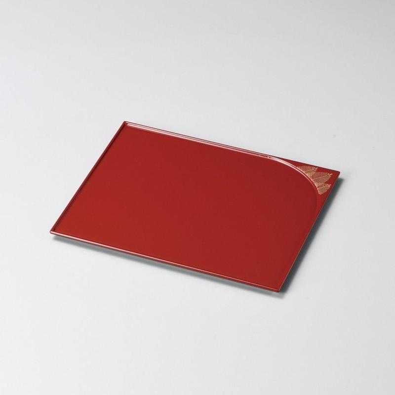 松 誰袖形銘々皿(朱) 5枚セット