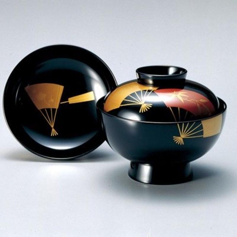 扇面 吸物椀(黒)5客セット