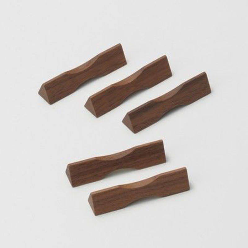 箸置・三角(ウォールナット)5個セット