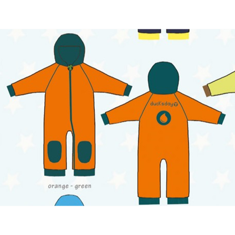 ducksday Fleece suits Orange/green ( 98-104cm~104-116cm )