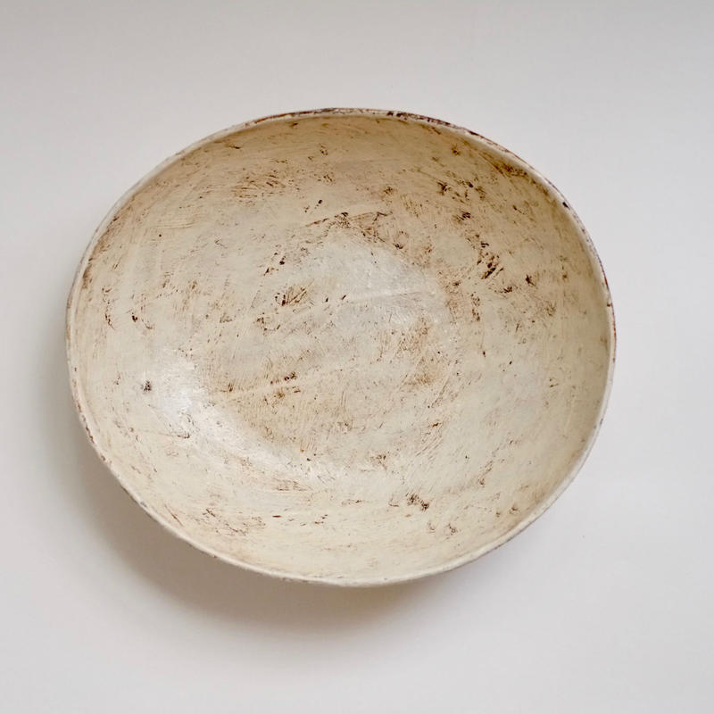 白化粧サラダボウル〔楕円深皿〕