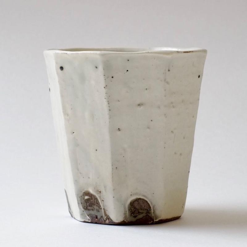 灰釉面取フリーカップ大