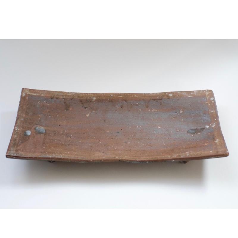 脚付き長角皿〔大〕薪窯