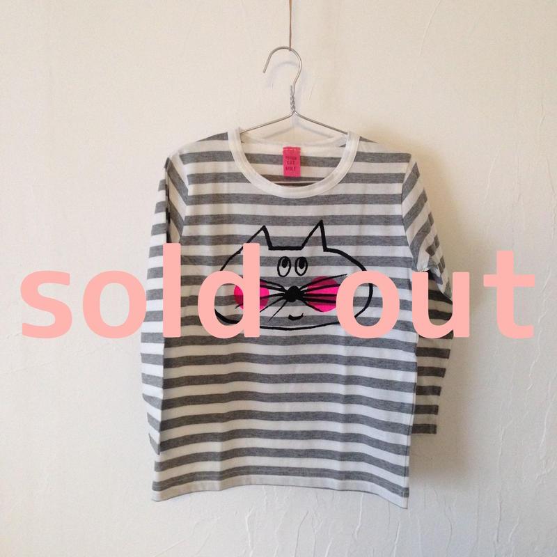 ▲送料無料 110サイズ/長そで ねこもぐらさんしましまTシャツE オーガニックコットン uyoga cat mole グレーしましま (ボーダー) ほっぺあり 899番目のねこもぐらさん