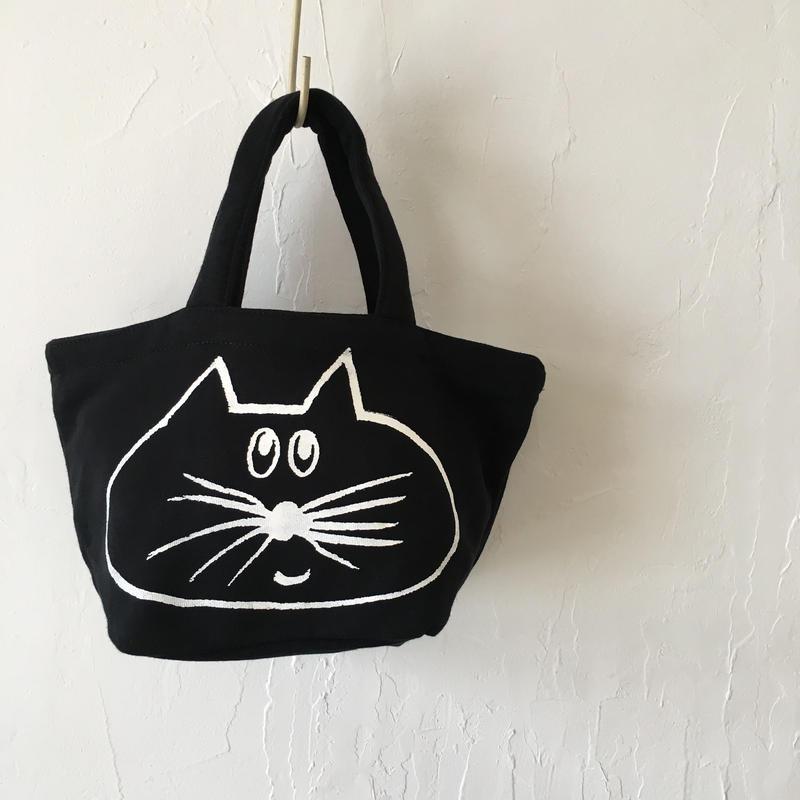 ▲送料無料 Sサイズ/スウェット生地 ねこもぐらさん トートバッグ uyoga cat mole ブラック ほっぺなし 975番目のねこもぐらさん