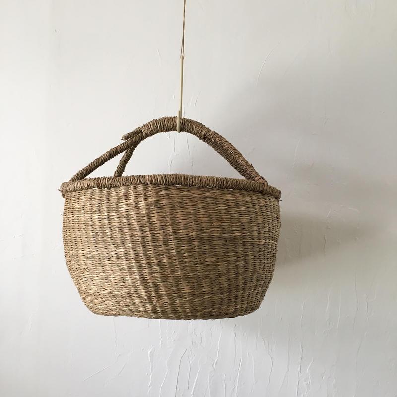 ベトナムのまるっこい手づくりかご handmade シーグラス ラウンド バスケットA Lサイズ AL-3