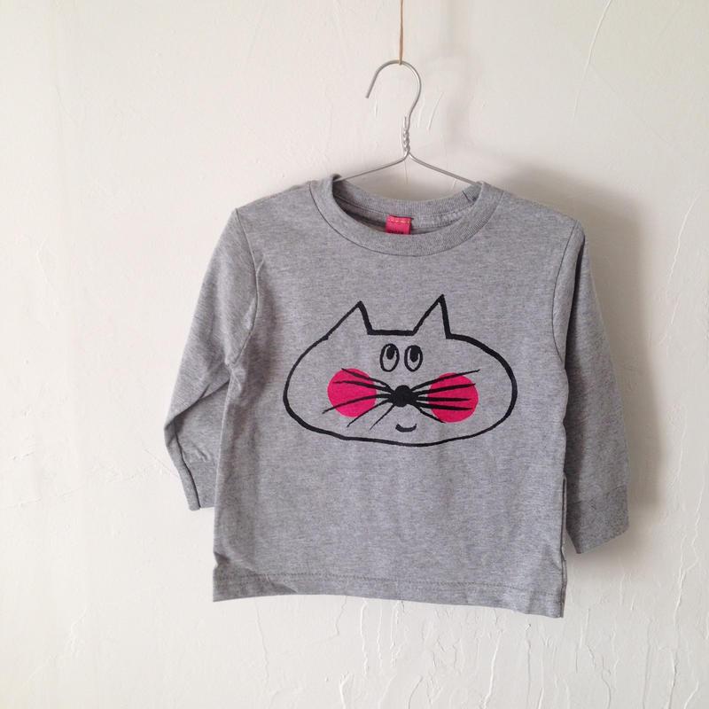▲送料無料 90サイズ/長そで ねこもぐらさんTシャツR 5.5oz uyoga cat mole ダークヘザー ほっぺあり 909番目のねこもぐらさん