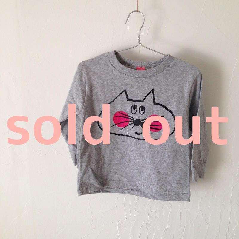▲送料無料 90サイズ/長そで ねこもぐらさんTシャツR 5.5oz uyoga cat mole ダークヘザー ほっぺあり 908番目のねこもぐらさん