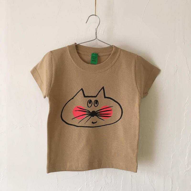 ▲送料無料 100サイズ/半そで ねこもぐらさんTシャツC 6.2oz uyoga cat mole キャメル ほっぺあり 913番目のねこもぐらさん