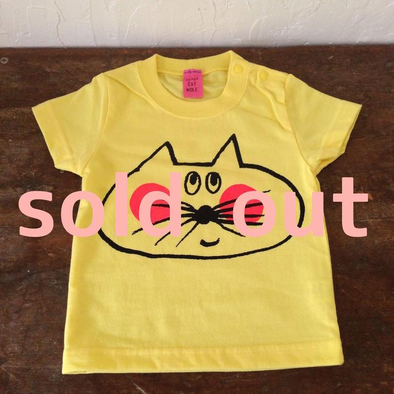 ▲送料無料 70サイズ/半そで ねこもぐらさんTシャツB uyoga cat mole イエロー