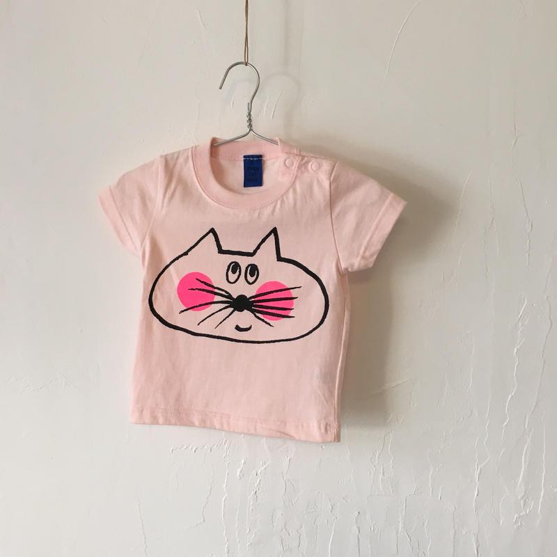 ▲送料無料 70サイズ/半そで ねこもぐらさんTシャツB uyoga cat mole ライトピンク 480番目のねこもぐらさん