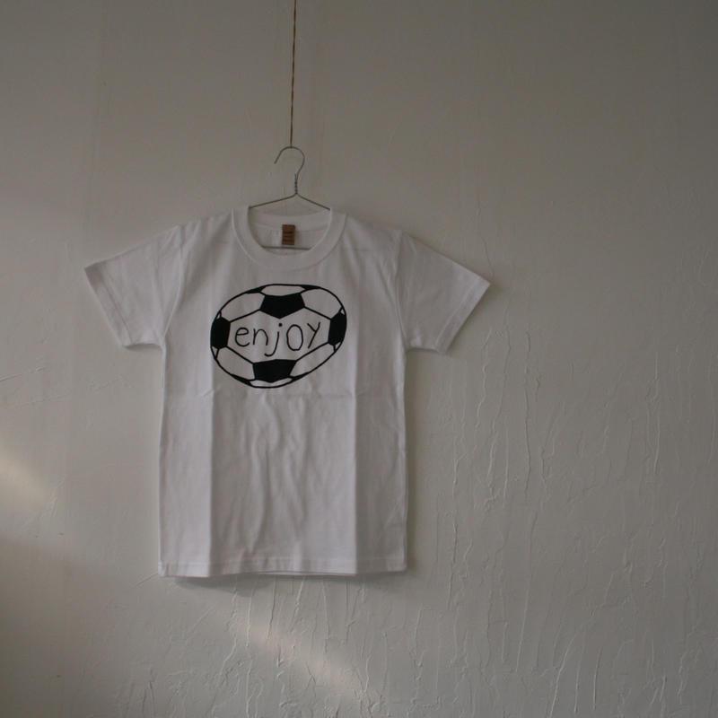 ▲送料無料 140サイズ/半そで uyoga enjoy soccer Tシャツ 5.6oz ホワイト