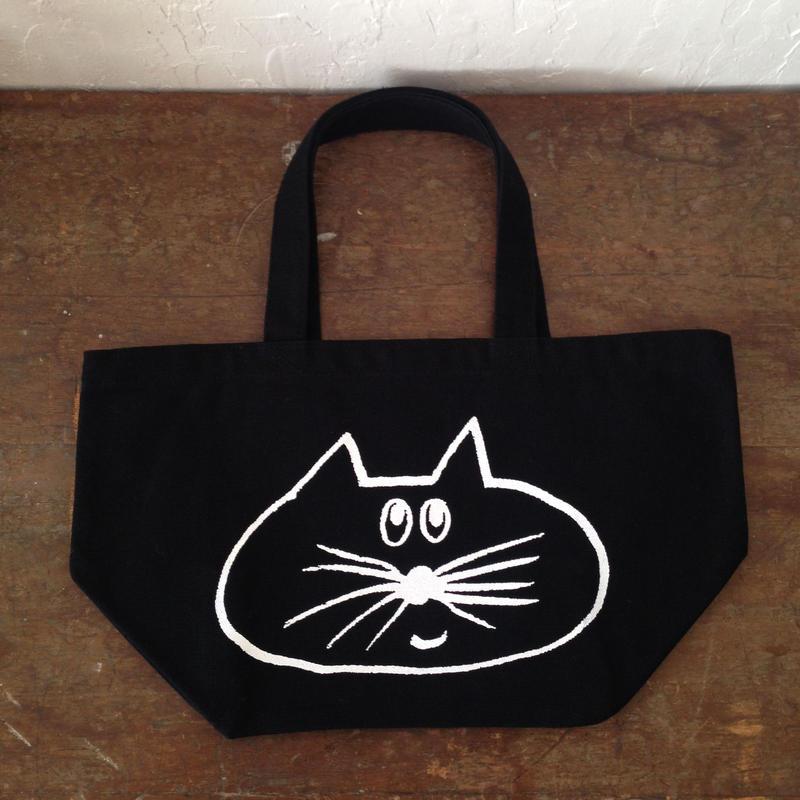 ▲送料無料 Sサイズ/キャンバス生地 ねこもぐらさん トートバッグ uyoga cat mole ブラック 721番目のねこもぐらさん