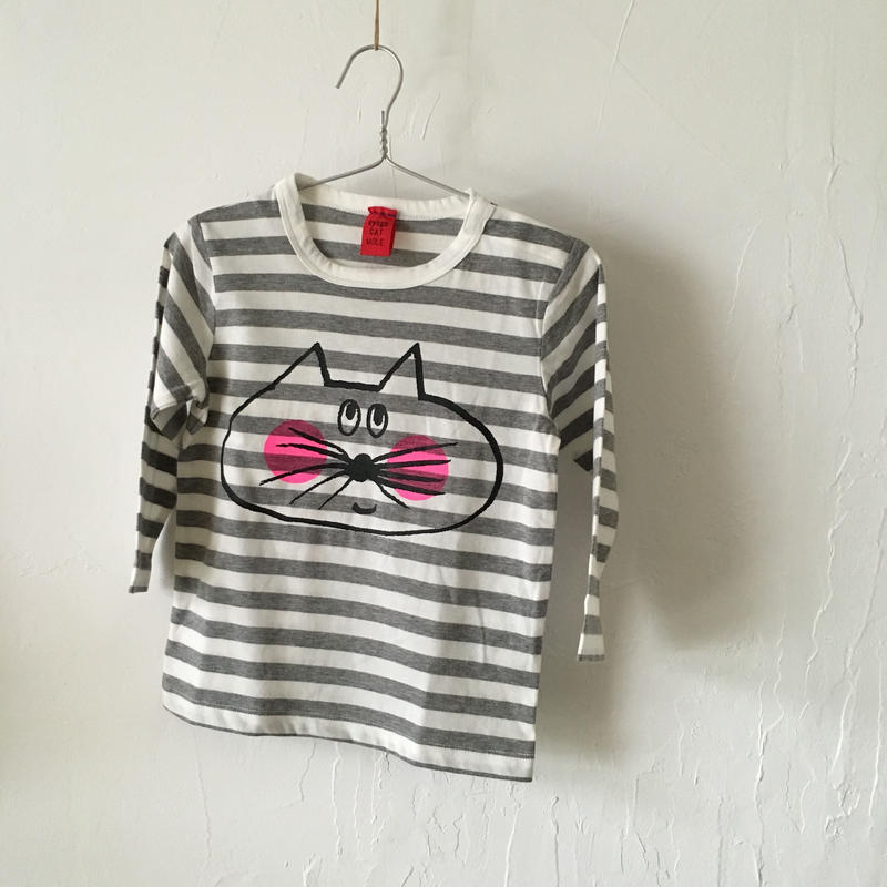 ▲送料無料 90サイズ/長そで ねこもぐらさんしましまTシャツE オーガニックコットン uyoga cat mole グレー×ホワイト ボーダー ほっぺあり 1101番目のねこもぐらさん