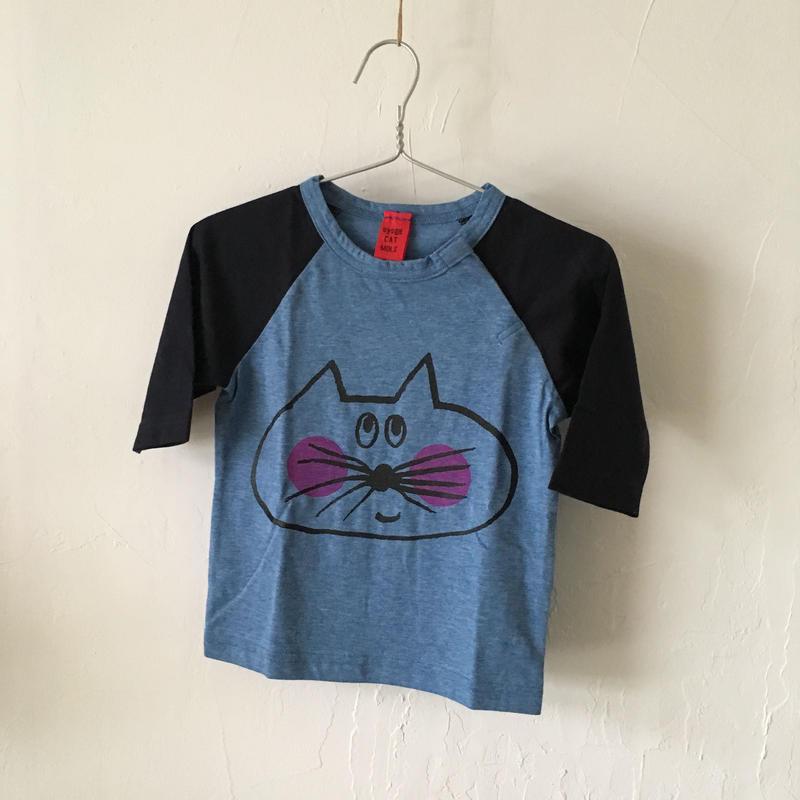 ▲送料無料 80サイズ/ラグラン七分そで ねこもぐらさんTシャツE オーガニックコットン uyoga cat mole  ネイビー×ブルー ほっぺあり 1094番目のねこもぐらさん
