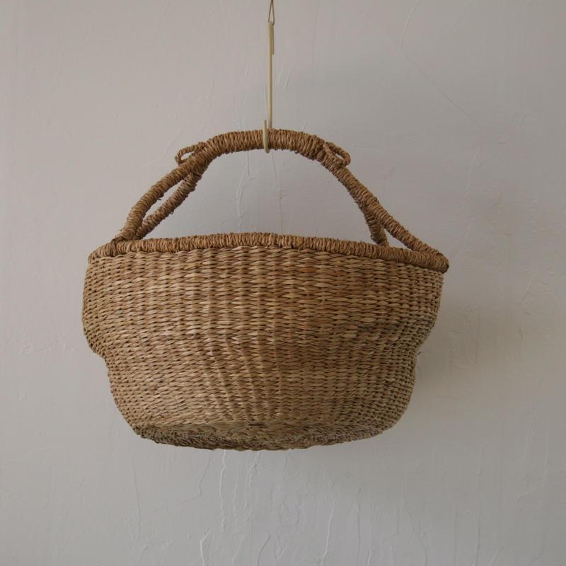 ベトナムのまるっこい手づくりかご handmade シーグラス ラウンド バスケットA Lサイズ AL-1