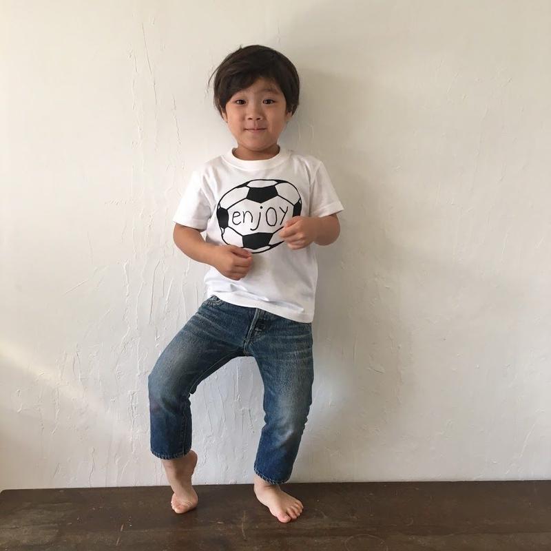 ▲送料無料 110サイズ/半そで uyoga enjoy soccer Tシャツ 5.6oz ホワイト