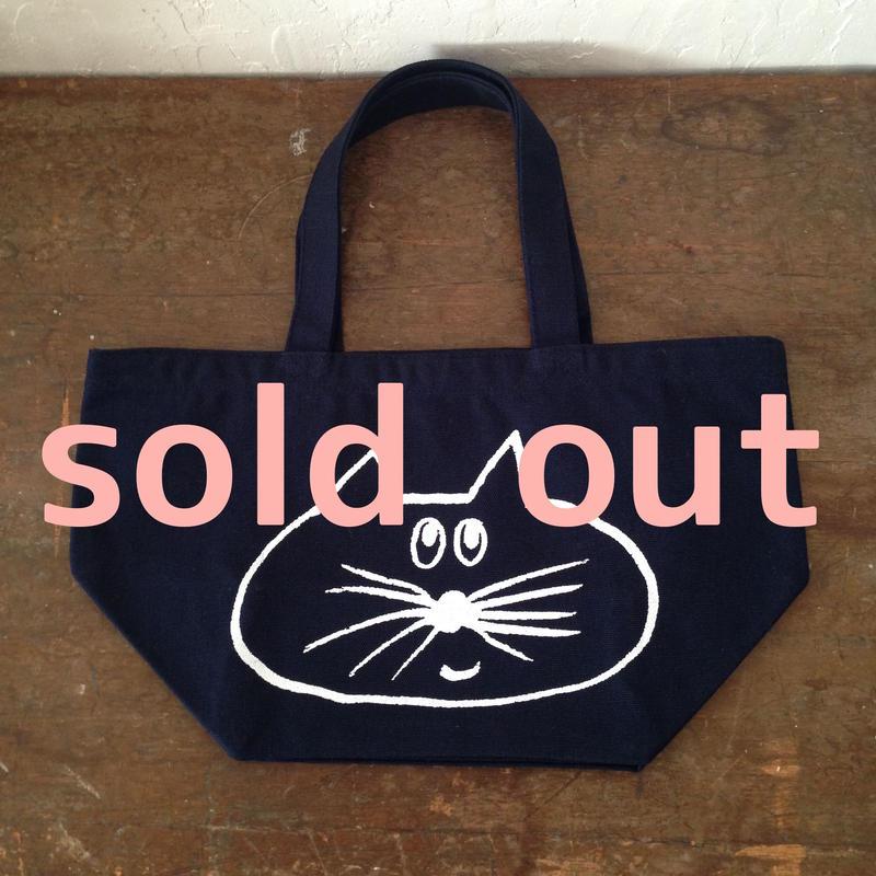 ▲送料無料 Sサイズ/キャンバス生地 ねこもぐらさん トートバッグ uyoga cat mole ネイビー 720番目のねこもぐらさん