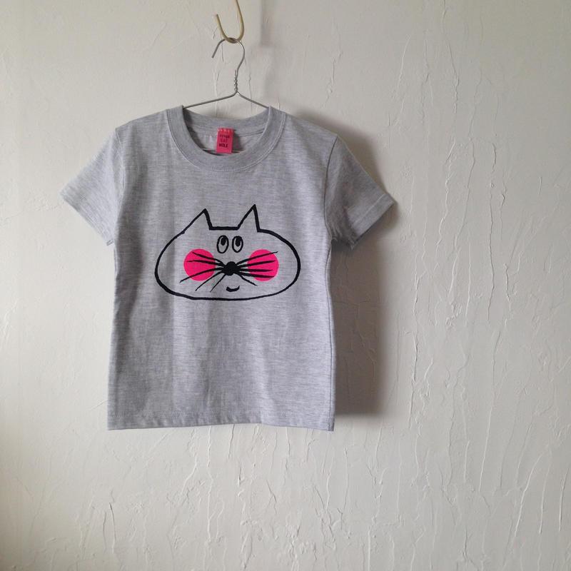 ▲送料無料 110サイズ/半そで ねこもぐらさんTシャツ 5.6oz uyoga cat mole アッシュ ほっぺあり 801番目のねこもぐらさん
