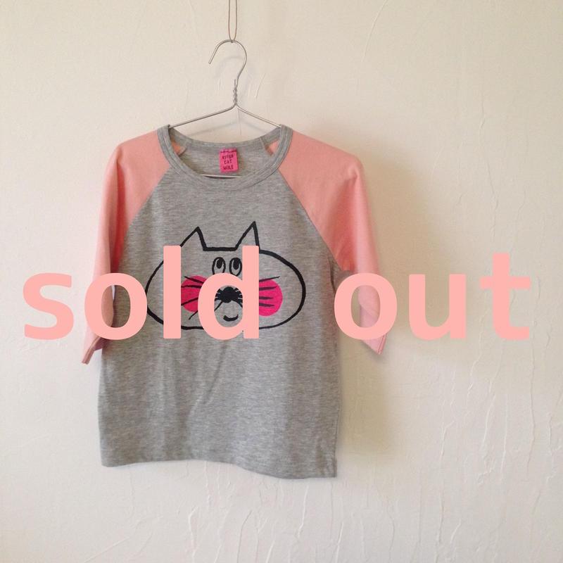 ▲送料無料 100サイズ/ラグラン七分そで ねこもぐらさんTシャツE オーガニックコットン uyoga cat mole グレー×ピンク ほっぺあり 776番目のねこもぐらさん