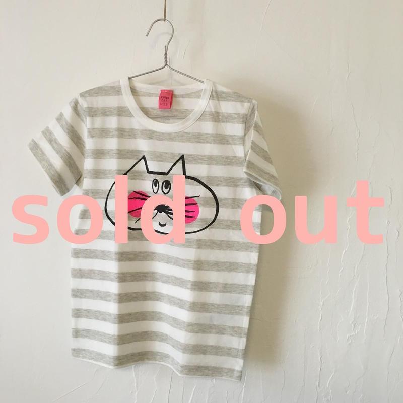 ▲送料無料 130サイズ/半そで ねこもぐらさんしましまTシャツE オーガニックコットン uyoga cat mole  ライトグレー×ホワイト ボーダー ほっぺあり 1005番目のねこもぐらさん
