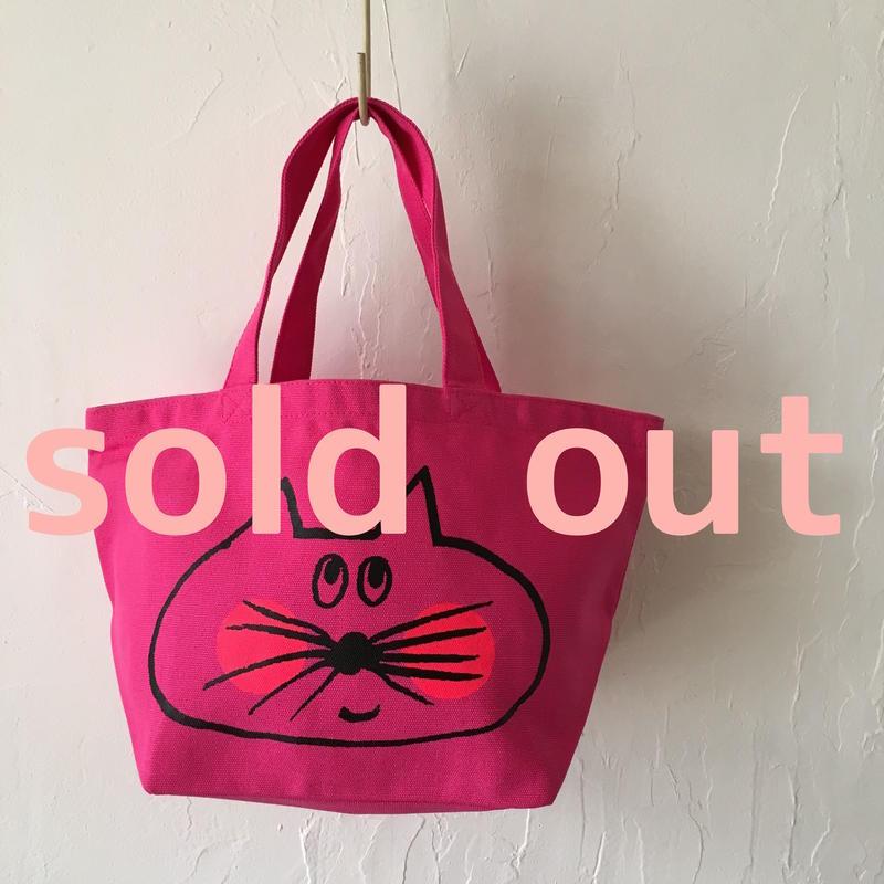 ▲送料無料 Sサイズ/キャンバス生地 ねこもぐらさん トートバッグ uyoga cat mole トロピカルピンク ほっぺあり 979番目のねこもぐらさん