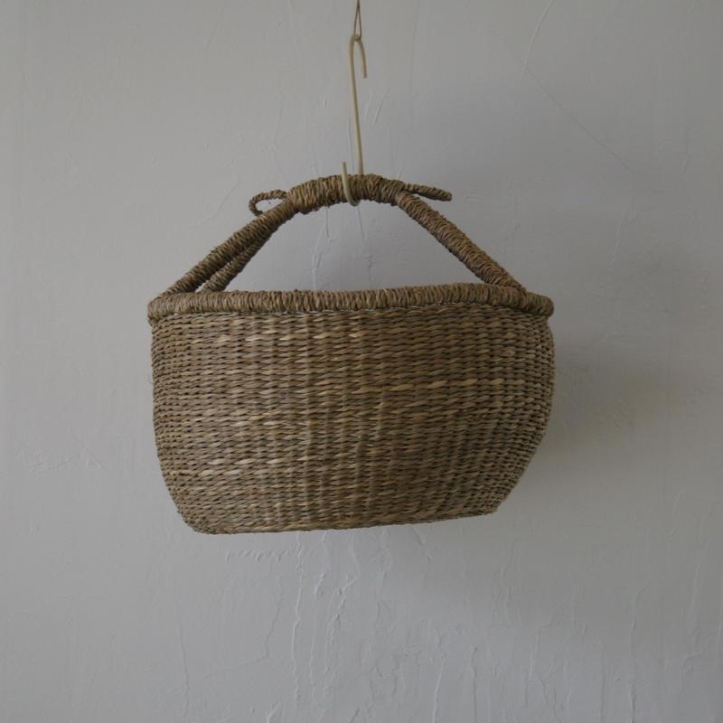 ベトナムのまるっこい手づくりかご handmade シーグラス ラウンド バスケットA Mサイズ AM-4
