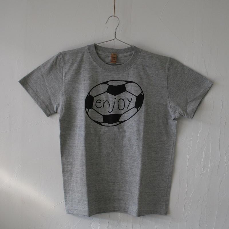 ▲送料無料 150サイズ/半そで uyoga enjoy soccer Tシャツ 5.6oz ミックスグレー