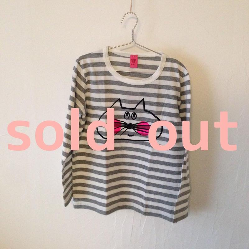 ▲送料無料 130サイズ/長そで ねこもぐらさんしましまTシャツE オーガニックコットン uyoga cat mole グレーしましま (ボーダー) ほっぺあり 903番目のねこもぐらさん