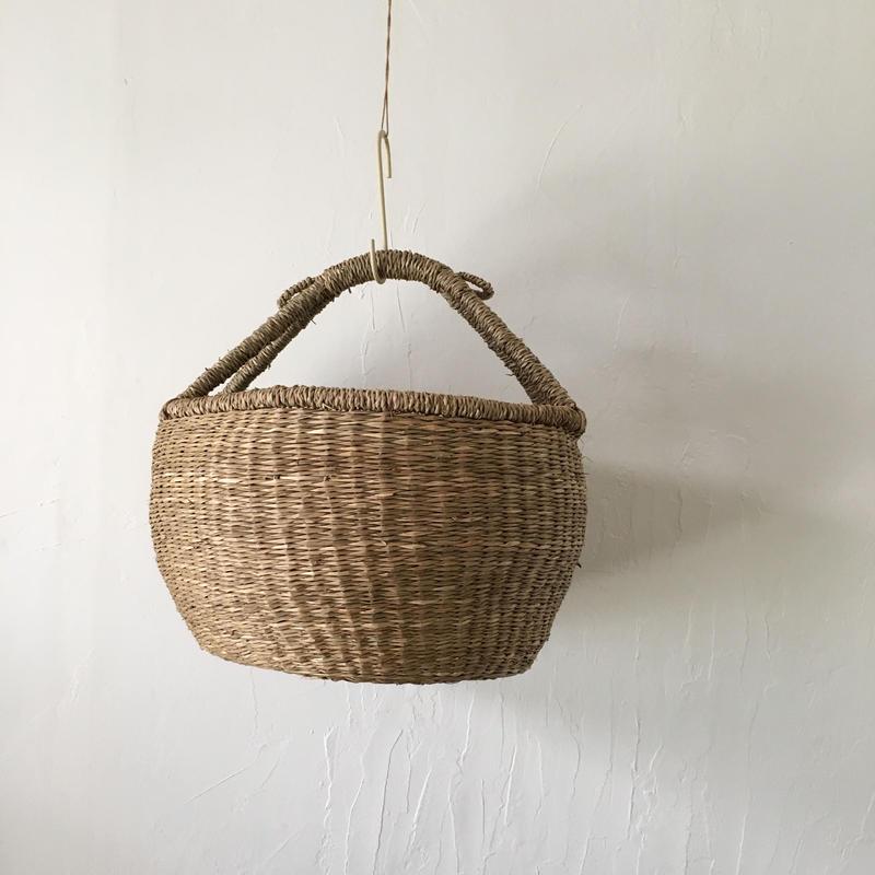 ベトナムのまるっこい手づくりかご handmade シーグラス ラウンド バスケットA Lサイズ AL-6