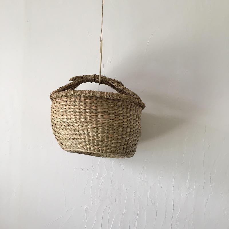 ベトナムのまるっこい手づくりかご handmade シーグラス ラウンド バスケットA Sサイズ AS-5