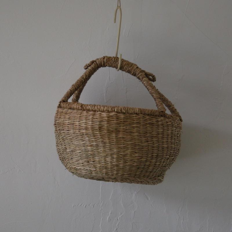ベトナムのまるっこい手づくりかご handmade シーグラス ラウンド バスケットA  Sサイズ  AS-1