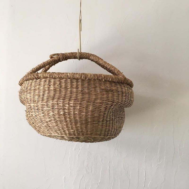 ベトナムのまるっこい手づくりかご handmade シーグラス ラウンド バスケットA Mサイズ AM-11