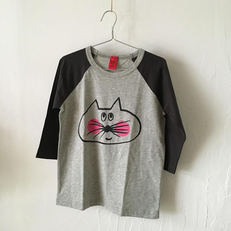 ▲送料無料 120サイズ/ラグラン七分そで ねこもぐらさんTシャツE オーガニックコットン uyoga cat mole チャコールグレー×グレー ほっぺあり 1096番目のねこもぐらさん