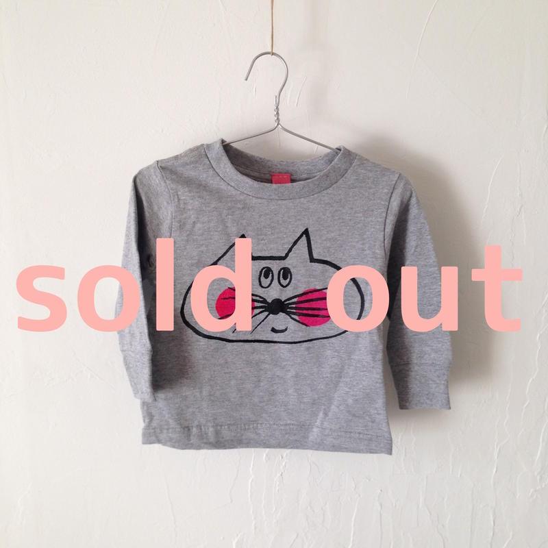 ▲送料無料 80サイズ/長そで ねこもぐらさんTシャツR 5.5oz uyoga cat mole ダークヘザー ほっぺあり 907番目のねこもぐらさん