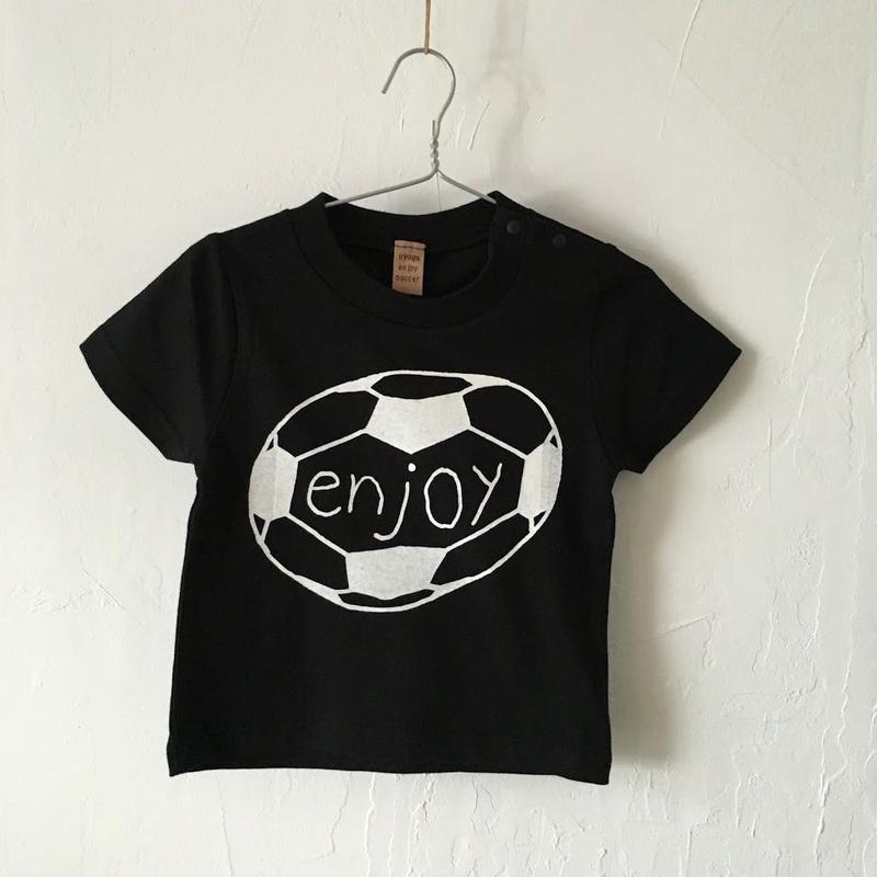 ▲送料無料 90サイズ/半そで uyoga enjoy soccer Tシャツ 5.6oz ブラック