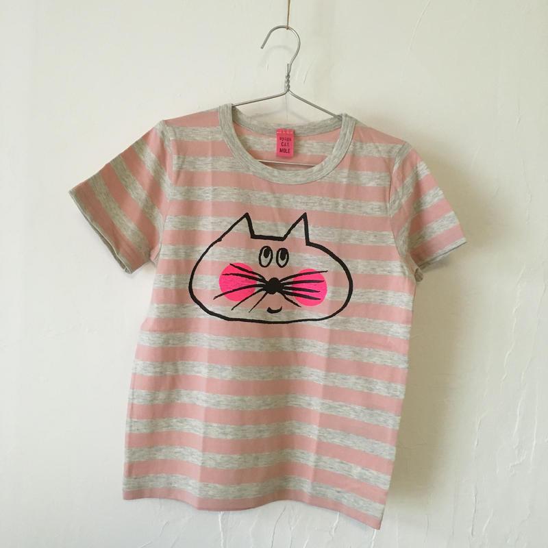 ▲送料無料 120サイズ/半そで ねこもぐらさんしましまTシャツE オーガニックコットン uyoga cat mole ライトピンク×グレー ボーダー ほっぺあり 1003番目のねこもぐらさん