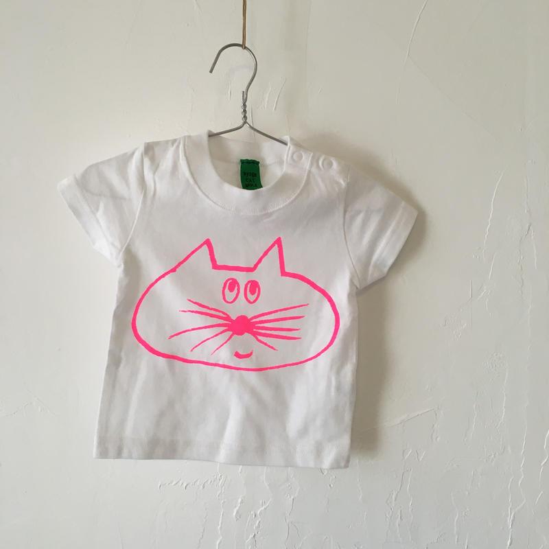 ▲送料無料 ▶︎OUTLET▶︎ 70サイズ/半そで ねこもぐらさんTシャツB 5.6oz uyoga cat mole ホワイト ほっぺなし/蛍光ピンク 462番目のねこもぐらさん
