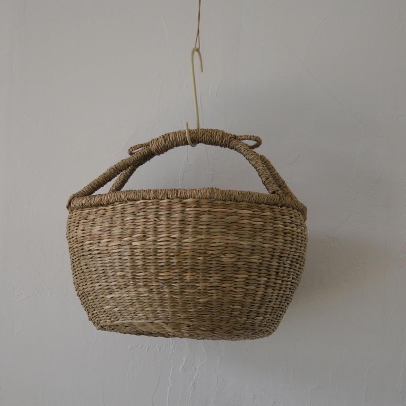 ベトナムのまるっこい手づくりかご handmade シーグラス ラウンド バスケットA Mサイズ AM-2