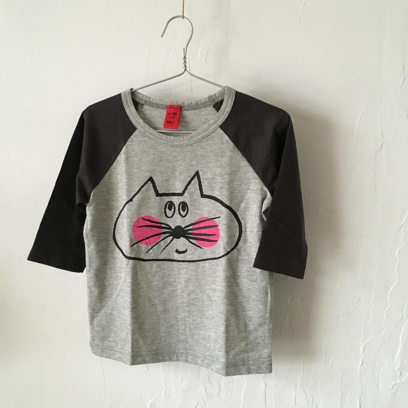 ▲送料無料 100サイズ/ラグラン七分そで ねこもぐらさんTシャツE オーガニックコットン uyoga cat mole チャコールグレー×グレー ほっぺあり 1093番目のねこもぐらさん