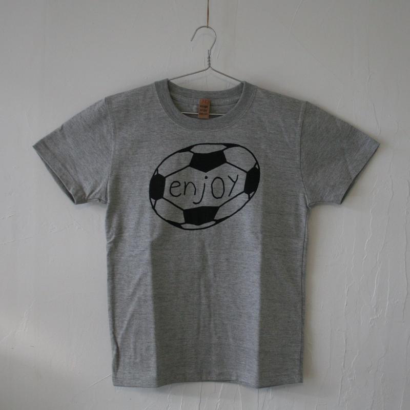 ▲送料無料 140サイズ/半そで uyoga enjoy soccer Tシャツ 5.6oz ミックスグレー