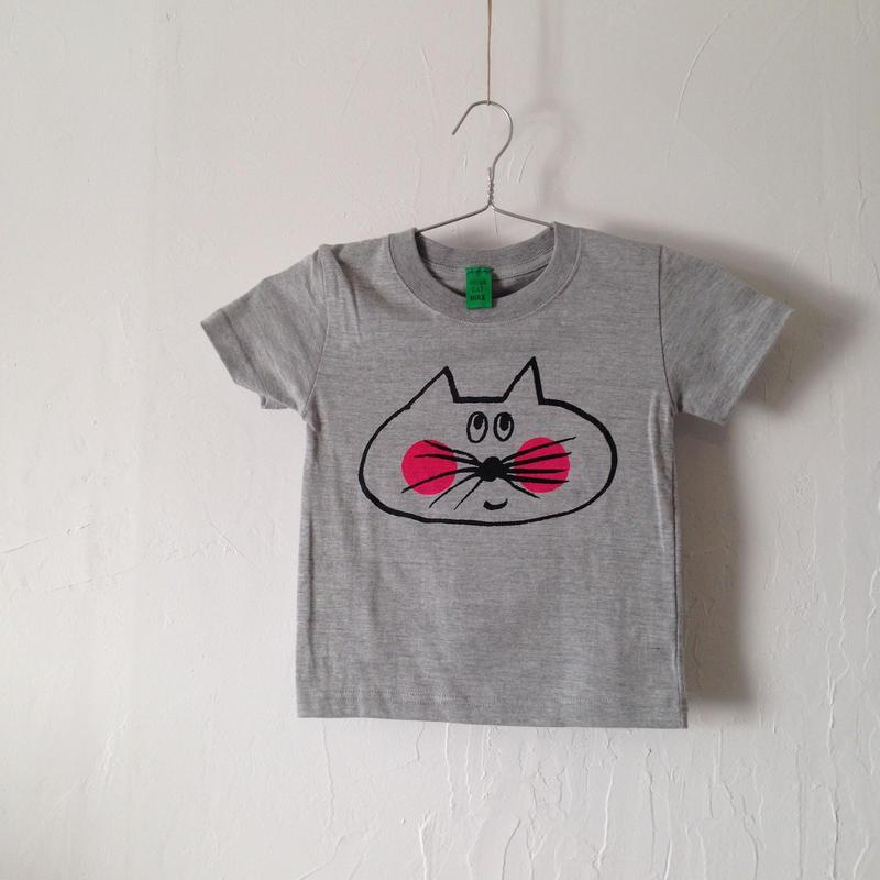▲送料無料 100サイズ/半そで ねこもぐらさんTシャツ 5.6oz uyoga cat mole ミックスグレー ほっぺあり 855番目のねこもぐらさん