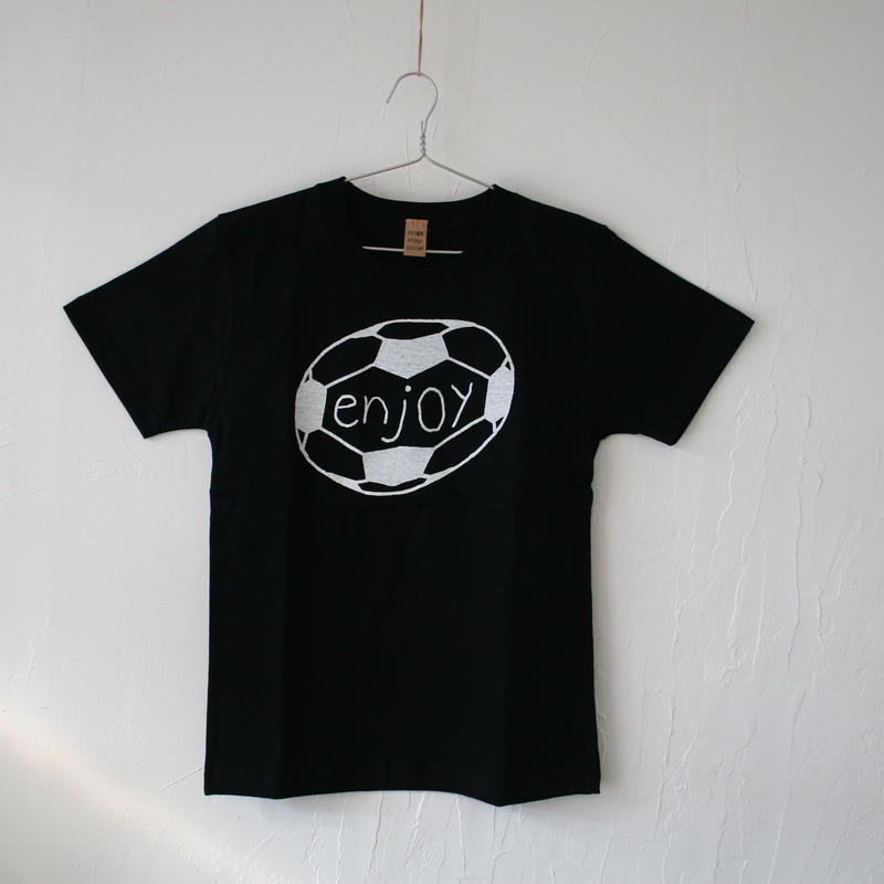 ▲送料無料 140サイズ/半そで uyoga enjoy soccer Tシャツ 5.6oz ブラック
