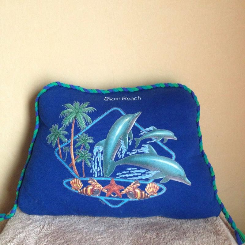 nekotani made「nekotani クッション」 used Tシャツ リメイク クッション 「Dolphin Beach」ドルフィン ビーチ