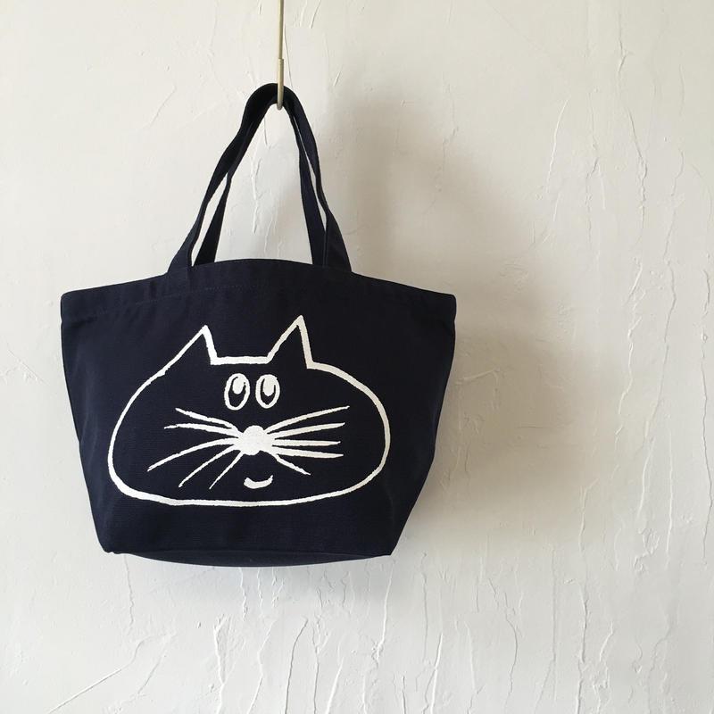 ▲送料無料 Sサイズ/キャンバス生地 ねこもぐらさん トートバッグ uyoga cat mole ネイビー ほっぺなし 977番目のねこもぐらさん
