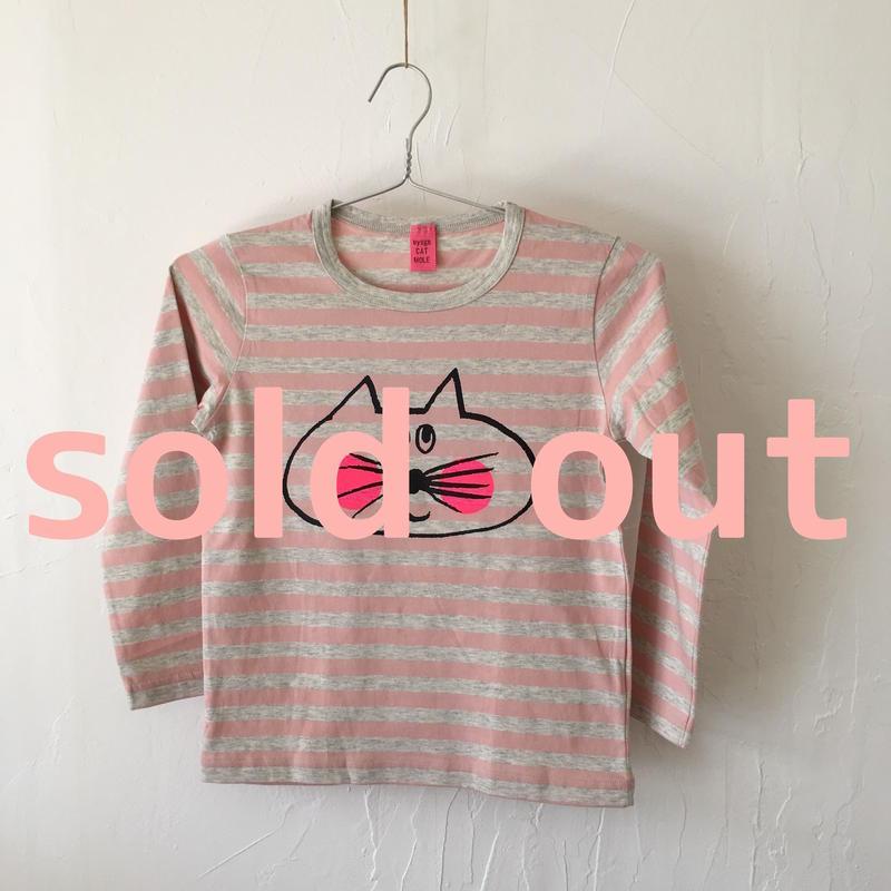 ▲送料無料 120サイズ/長そで ねこもぐらさんしましまTシャツE オーガニックコットン uyoga cat mole ライトピンク×グレー ボーダー ほっぺあり 990番目のねこもぐらさん