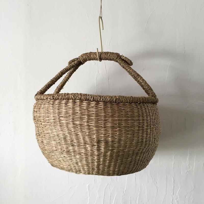ベトナムのまるっこい手づくりかご handmade シーグラス ラウンド バスケットA Lサイズ AL-7