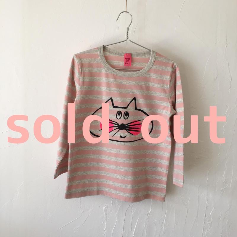 ▲送料無料 110サイズ/長そで ねこもぐらさんしましまTシャツE オーガニックコットン uyoga cat mole ライトピンク×グレー ボーダー ほっぺあり 989番目のねこもぐらさん