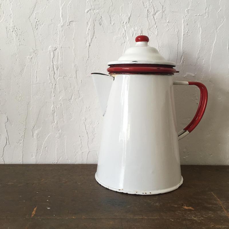 ▲送料無料 アンティーク 琺瑯 ポット antique enamel  pot