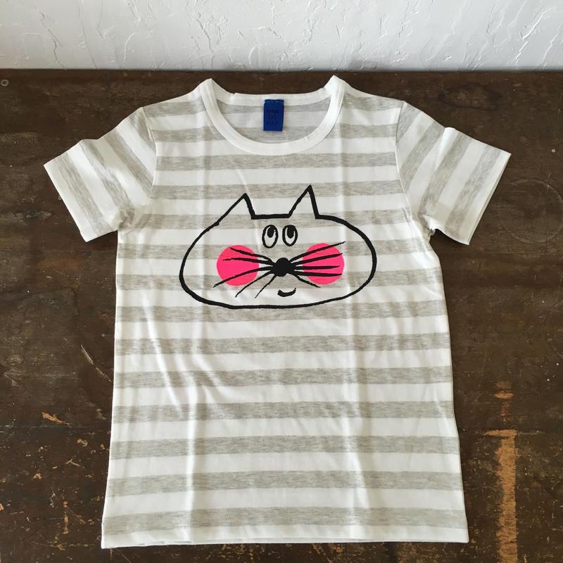 ▲送料無料 120サイズ/半そで ねこもぐらさんしましまTシャツE オーガニックコットン uyoga cat mole ライトグレー×ホワイト ボーダー ほっぺあり 1024番目のねこもぐらさん